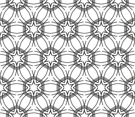 Abstract ornate pattern with decorative stars. Stylish black texture. Seamless linear illustration.