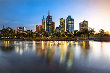 Melbourne city sunrise Stock Photo