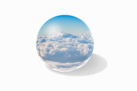 refraction of light: ball glass orb with clouds inside Stock Photo