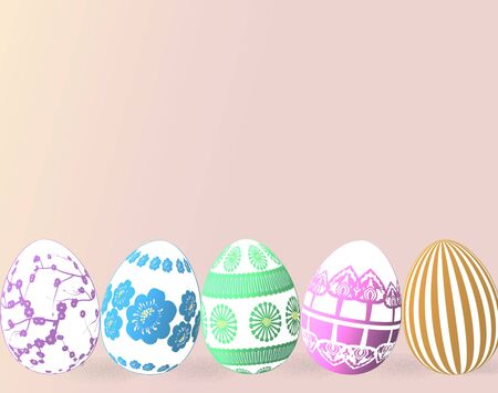 dyed: holiday easter eggs dyed- illustration for spring time Stock Photo