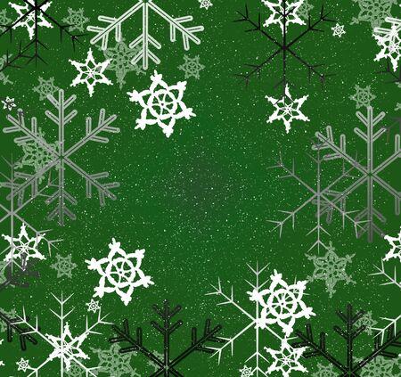 kelly green: Snowflakes green holiday Stock Photo