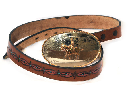 tooled: hand made leather belt with championship belt buckle Stock Photo