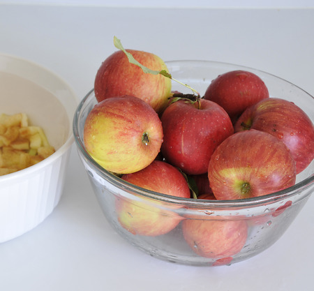 washed: apples washed and ready for to be diced for recipes