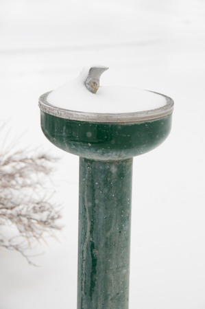 snow covered water fountain in winter