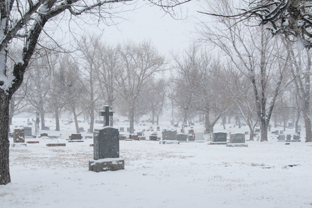 cemetary: American cemetary with snowfall in winter Stock Photo