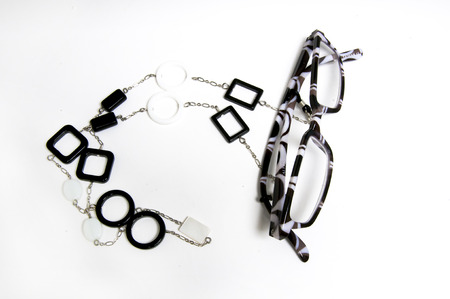 Black and White readers with holderband accessory Stock Photo