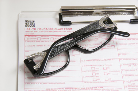 Eyewear and insuance claim form for vision insurancemedical insurance