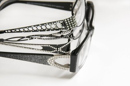 eye wear: Selection of frames sparkle for eye wear purchases at optometrist or vision specialist all 4 Stock Photo