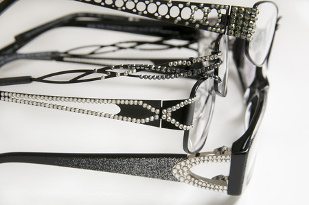 Selection of frames sparkle for eye wear purchases at optometrist or vision specialist