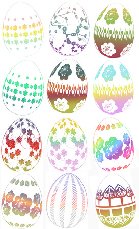 Group of easter egg illustrations with different designs colors and patterns