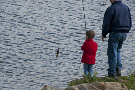 Look Dad I caught a fish for supper