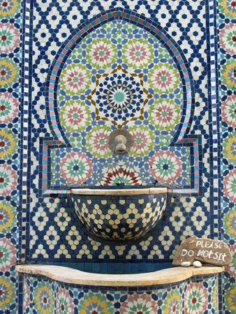 mosaic tile: Moroccan mosaic tile wall fountain