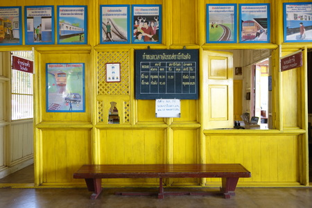 retained: KANTANG, TRANG, THAILAND - MAY 14, 2015:  Kantang Kan Tang railway station opened in April 1913 and has retained the original wood designs painted with mustard yellow color, a unique feature of the station.  The stations architecture has been preserved a