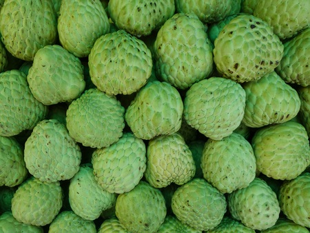 exotic fruits: Stack of custard apple fruits