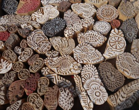 Indian wood printing blocks from Jaipur, Rajasthan, India Stock Photo
