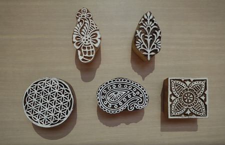 Indian wood printing blocks from Jaipur, Rajasthan, India Stock Photo