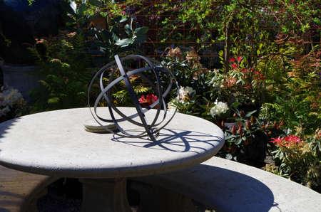 Metal hoop ball garden art