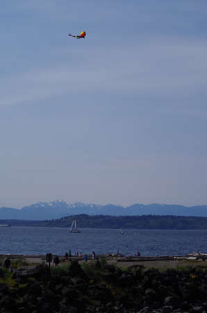 puget sound: Kite flying over the Edmonds, Washington beach park next to Puget Sound with the Olympia Mountains in the background