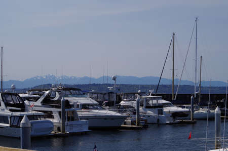 edmonds: Boats at dock in Edmonds, Washington with the Olympic Mountains in the background