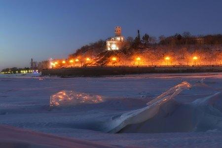 amur: Amur Cliff. Khabarovsk, Russia Stock Photo