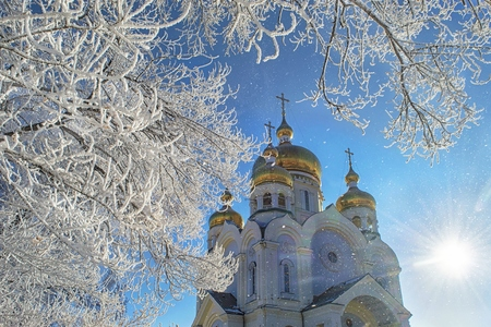 lejano oriente: Winter Khabarovsk. The Transfiguration Cathedral. Far East, Russia