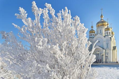 lejano oriente: cuento de invierno en Khabarovsk. La Catedral de la Transfiguración. Extremo Oriente, Rusia