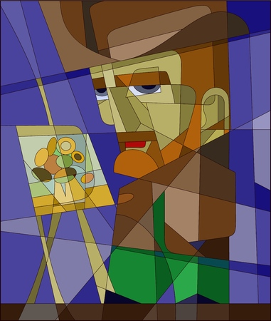 Stained glass Vincent Willem van Gogh. vector character