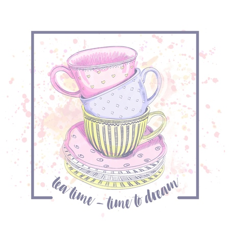 Vector tea cups watercolor. Tea time - time to dream 矢量图像