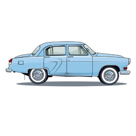 auto retrò URSS su sfondo bianco, illustrazione vettoriale. GAZ 21. volga