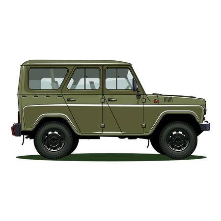 retro USSR car on white background, vector illustration. UAZ 469 Illustration