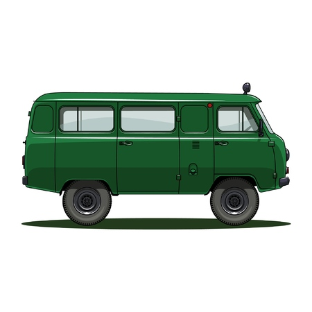retro USSR car on white background, vector illustration. UAZ 452 Иллюстрация