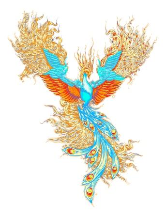 the magical bird. the phoenix, the firebird, the vector of the bird of the fairy tale