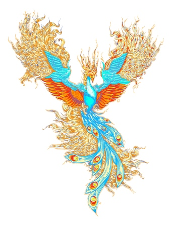 the magical bird. the phoenix, the firebird, the vector of the bird of the fairy tale