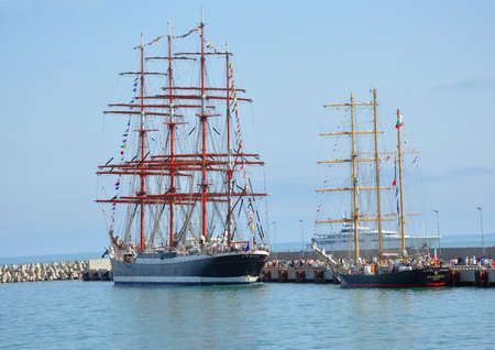 shrouds: Russian barque Sedov and Bulgarian barquentine Kaliakra in port of Sochi