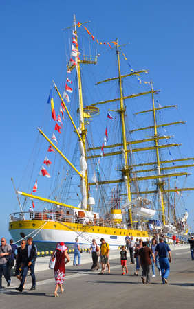 Sochi, Russia - May 17, 2014:The three-masted barque Mircea in the port of Sochi. Editorial