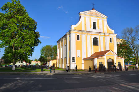 exaltation: Church Exaltation of the Cross in the town of Lida. Belarus