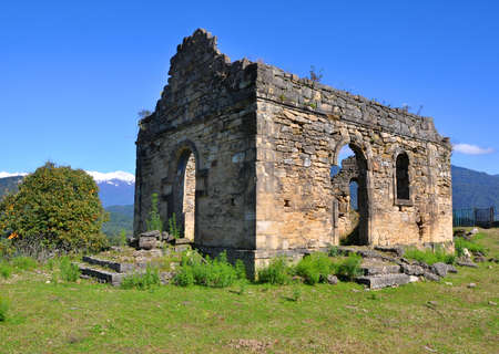 abkhazia: The ruins of the church near Bedia Cathedral. Abkhazia Stock Photo