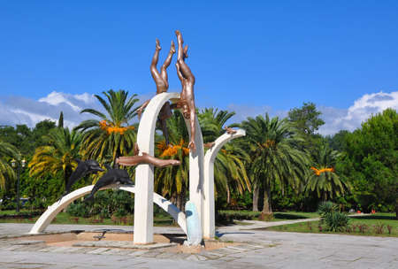 abkhazia: Sculpture pearl divers. Pitsunda, Abkhazia