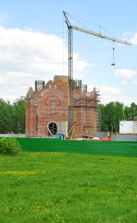 gorki: Construction of the temple Primates of Moscow. The village Lenin Gorki. Russia