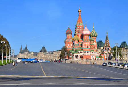 St. Basils Cathedral on Vasilyevsky descent. Moscow, Russia