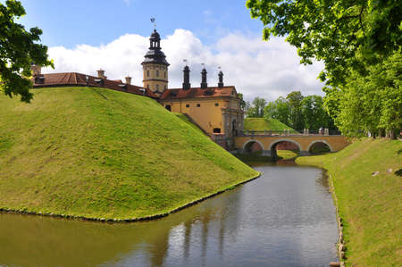 rampart: The castle, moat and rampart. Nesvizh. Belarus