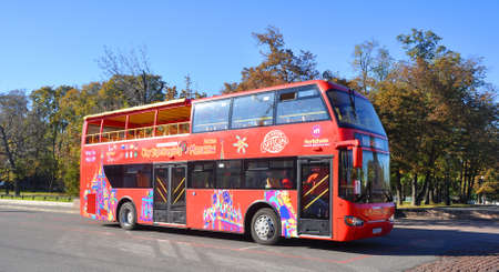 sightseeing tour: City Sightseeing tour bus in Moscow. Editorial