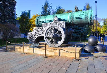 bombard: Tsar Cannon in the Moscow Kremlin. Moscow, Russia