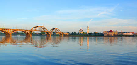 navigable: The bridge over the Volga River and the right bank of the Volga. Rybinsk, Russia