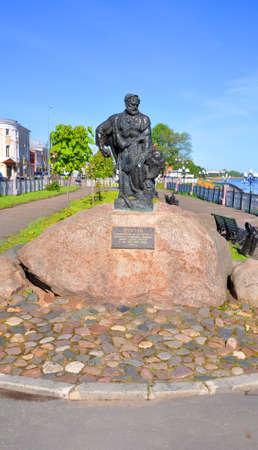 hauler: Monument barge hauler in Rybinsk. Russia