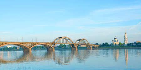 Road bridge over the Volga River in the city of Rybinsk. Russia Stock Photo
