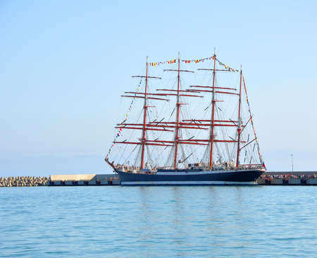 shrouds: Four-masted barque Sedov at berth in Sochi. Russia