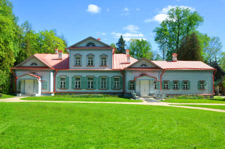 classicism: Manor house with a mezzanine in the Museum-Reserve Abramtsevo. Moscow region, Russia Editorial