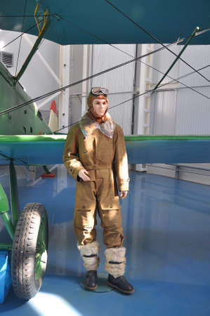 xx century: Mannequin in clothes Russian pilot of the first half of the XX century in the Air Force Museum in Monino. Russia