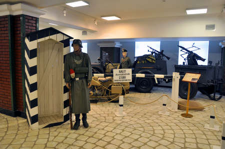 Exposition German checkpoint at the Museum technique of Vadim Zadorozhnogo. Arkhangelskoe, Moscow Region, Russia